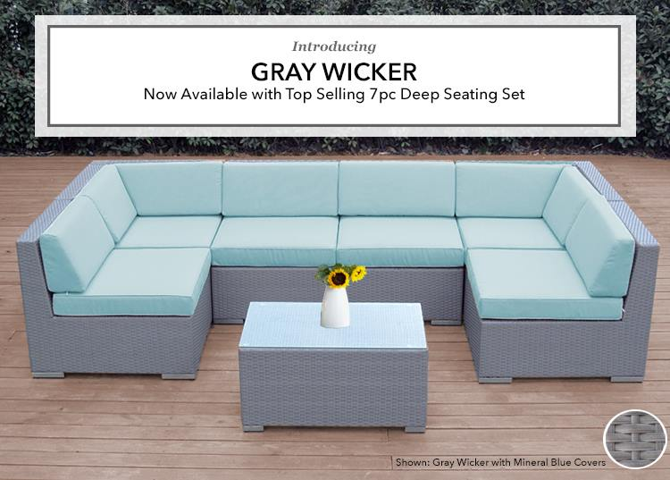 Ohana Outdoor Patio Furniture Gray Wicker